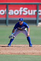Kansas City Royals first baseman Nick Pratto (13) on defense during an Instructional League game against the Cincinnati Reds on October 2, 2017 at Surprise Stadium in Surprise, Arizona. (Zachary Lucy/Four Seam Images)