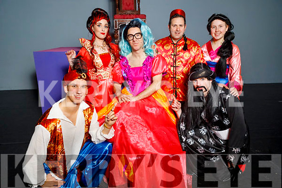Members of the Tralee Musical Society on stage at their performance of Aladdin in Siamsa Tire on Saturday.<br /> Kneeling l to r: Seamus Harty (Aladdin) and Aaron McLarnon (Abanazor). <br /> Back l to r: Laura Lee Curtin (Empress), Mike Lynch (Widow Twanky), Alan Teahan (Wishy Washy) and Ella Smith (Jasmine).