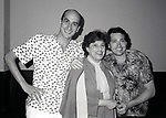 "Tony Azito and Kaye Ballard with friend after a performance in ""The Pirates Of Penzance"" at the Minskoff Theatre on September 1, 1981 in New York City."