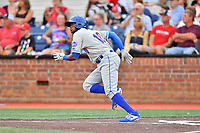 Kingsport Mets Jhoander Saez (10) runs to first base during a game against the Johnson City Cardinals at TVA Credit Union Ballpark on June 28, 2019 in Johnson City, Tennessee. The Cardinals defeated the Mets 7-4. (Tony Farlow/Four Seam Images)