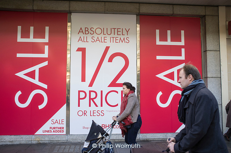 BHS store, January sales, Oxford Street, London.