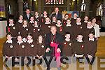 Bishop Bill Murphy confirmed the pupils from Scoil Mhic Easmainn in St Johns Church, Tralee, on Friday. They are pictured with An Maistir Colm O hAinifein, Maire Mhic Giolla Rua (Priomhoide) and An tAthair Padraig Breathnach. Front row l-r: Niamh Ni Choileain, Sile Ni Hoibeard, Brid Ni Chonchuir, Lauren Ni Laoire, Sam O Caomhanaigh, Liam O Murchu agus Jeaic de Barra. Middle row l-r: Gearoid O Comain, Caitriona Ni Muircheartaigh, Eilis Ni Chonchuir, Sorcha de Rath, Aisling de Faoite, Seaghan Mac Carthaigh, Jennifer Ni Dhuinn, Lorcan O Tuathail, Dara O Cearmada, Niall Mac an tSithigh, Eoghan Mac Iomhargain agus Padraig O Hoibeard. Back row l-r: Sionainn Ni Longargain, Cara Ni Shuilleabhain, Donall O Fionnagain agus Proinnsias Mac Carthaigh..