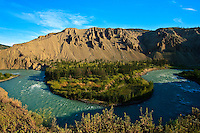 Chilcotin River flows around a horseshoe bend beneath the hoodoos of Farwell Canyon, in British Columbia, Canada's Chilcotin region.
