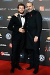 Spanish actor Alvaro Cervantes (l) and singer Miguel Bose during Barcelona 5th AIDS Ceremony. November 24,2014.(ALTERPHOTOS/Acero)
