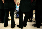 "Brandy Brock speaks with her students during class at Somerset Community College in London, Ky., on Thursday, Oct. 25, 2012. Brock was in a car accident in March of 2007 on her way home from work and was paralyzed from the chest down. ""I don't want anyone's sympathy, I am content with my life,"" Brock said. Photo by Tessa Lighty"