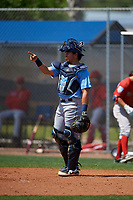 Tampa Bay Rays catcher Julio Meza (88) during a Minor League Spring Training game against the Boston Red Sox on March 25, 2019 at the Charlotte County Sports Complex in Port Charlotte, Florida.  (Mike Janes/Four Seam Images)