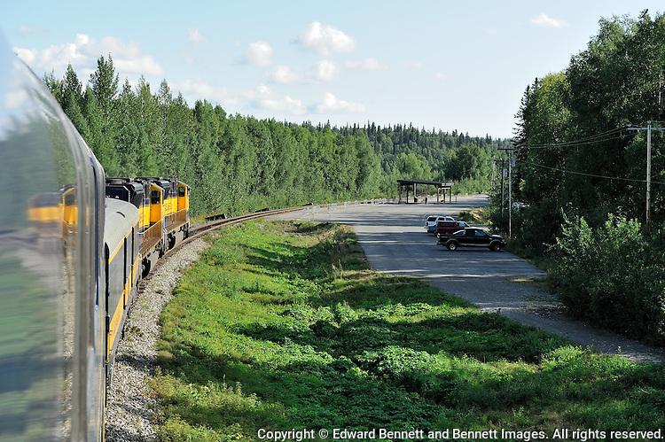 The Alaska Railroad's Denali Star train approaches the new Talkeetna Depot.
