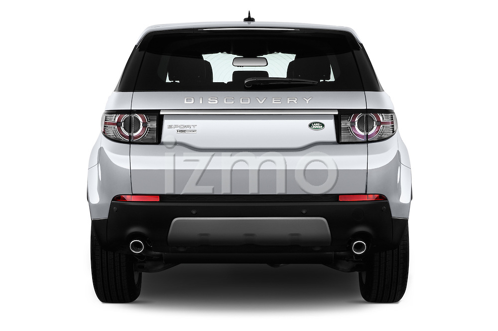 Straight rear view of 2016 Land Rover Discovery Sport HSE Luxury 5 Door Suv Rear View  stock images