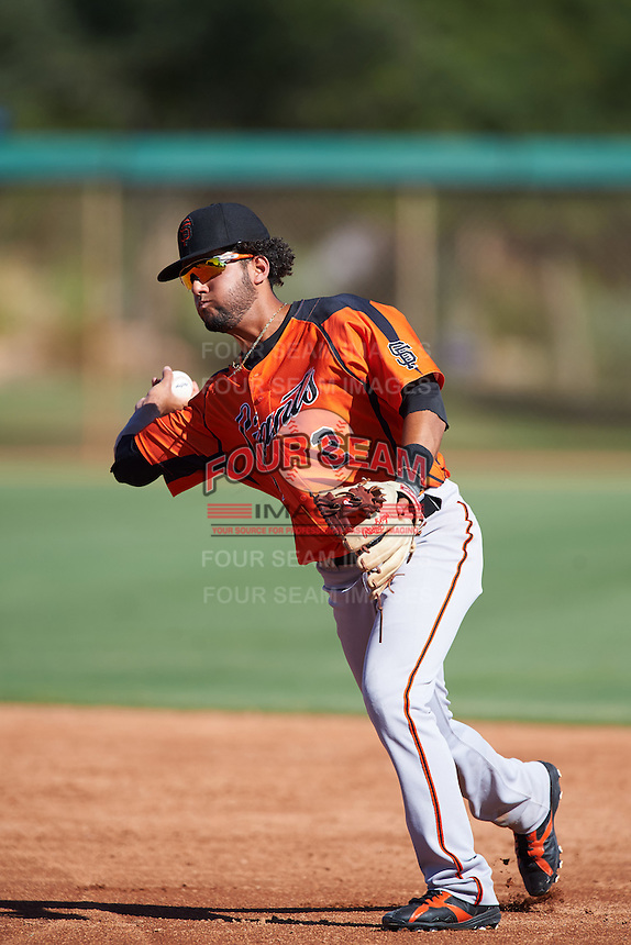 San Francisco Giants Kevin Rivera (2) during an Instructional League game against the Chicago White Sox on October 10, 2016 at the Camelback Ranch Complex in Glendale, Arizona.  (Mike Janes/Four Seam Images)