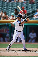Ramon Flores (20) of the Salt Lake Bees bats against the Albuquerque Isotopesin Pacific Coast League action at Smith's Ballpark on June 11, 2017 in Salt Lake City, Utah. The Bees defeated the Isotopes 6-5. (Stephen Smith/Four Seam Images)