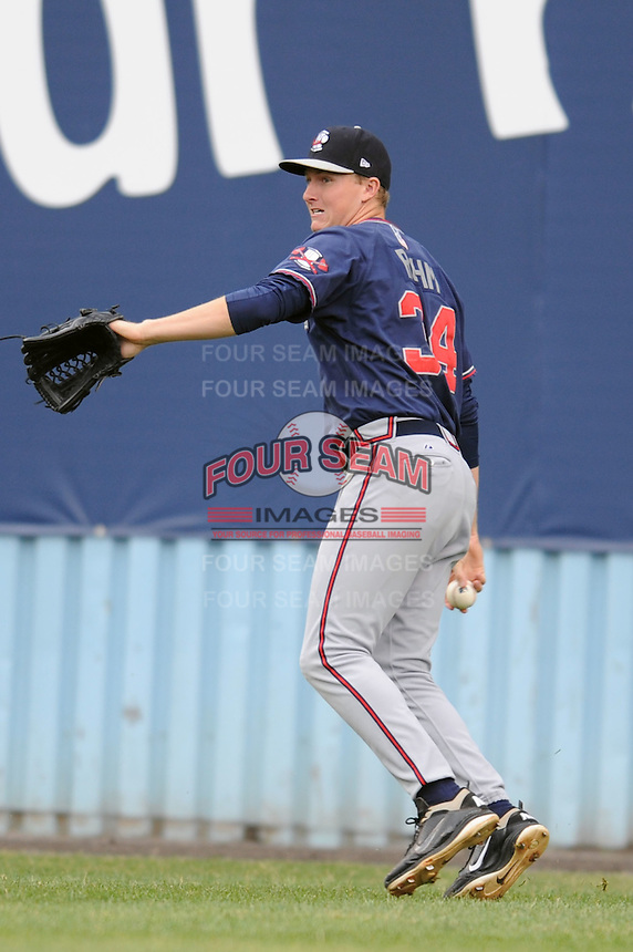 Rome Braves David Rohm #34 fields a ball during  a game against  the Asheville Tourists at McCormick Field in Asheville,  North Carolina;  May 18, 2011. The Braves won the game 8-7.  Photo By Tony Farlow/Four Seam Images