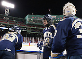 Ethan Holdaway (Trinity - 22), Liam McKillop (Trinity - 23), Kevin Green (Trinity - 33) - The Williams College Ephs defeated the Trinity College Bantams 4-2 (EN) on Tuesday, January 7, 2014, at Fenway Park in Boston, Massachusetts.
