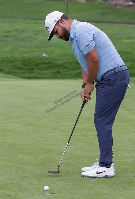 J.J. Spaun putts during the Barracuda Championship PGA golf tournament at Montrêux Golf and Country Club in Reno, Nevada on Friday, July 26, 2019.