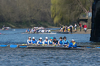 Mortlake/Chiswick, GREATER LONDON. United Kingdom. Barnes Bridge Ladies Rowing Club. W.MasC.8+, competing in the 2017 Vesta Veterans Head of the River Race, The Championship Course, Putney to Mortlake on the River Thames.<br /> <br /> <br /> Sunday  26/03/2017<br /> <br /> [Mandatory Credit; Peter SPURRIER/Intersport Images]