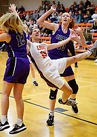 Westside Eagle Observer/RANDY MOLL<br /> Shylee Morrison, Gravette junior guard, falls to the floor after being fouled while driving toward the basket during play against Ozark on Tuesday, Jan. 28, 2020, at Gravette.