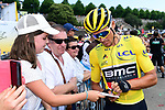 Race leader Yellow Jersey Greg Van Avermaet (BEL) BMC Racing Team at sign on before the start of Stage 6 of the 2018 Tour de France running 181km from Brest to Mur-de-Bretagne Guerledan, France. 12th July 2018. <br /> Picture: ASO/Alex Broadway | Cyclefile<br /> All photos usage must carry mandatory copyright credit (© Cyclefile | ASO/Alex Broadway)