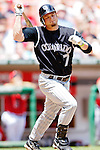 15 June 2006: JD Closser, catcher for the Colorado Rockies, in action against the Washington Nationals at RFK Stadium, in Washington, DC. The Rockies defeated the Nationals, 8-1 to sweep the four-game series...Mandatory Photo Credit: Ed Wolfstein Photo...
