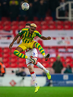 4th November 2019; Bet365 Stadium, Stoke, Staffordshire, England; English Championship Football, Stoke City versus West Bromwich Albion; Grady Diangana of West Bromwich Albion heads the ball - Strictly Editorial Use Only. No use with unauthorized audio, video, data, fixture lists, club/league logos or 'live' services. Online in-match use limited to 120 images, no video emulation. No use in betting, games or single club/league/player publications