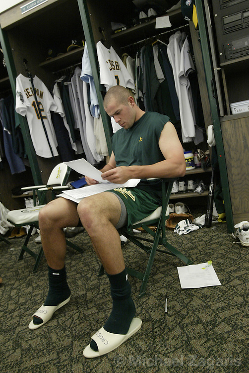 OAKLAND, CA - APRIL 7:  Bobby Crosby of the Oakland Athletics before the MLB game against the Texas Rangers at Network Associates Coliseum on April 7, 2004 in Oakland, California. The Rangers defeated the A's 2-1. (Photo by Michael Zagaris/MLB Photos via Getty Images)