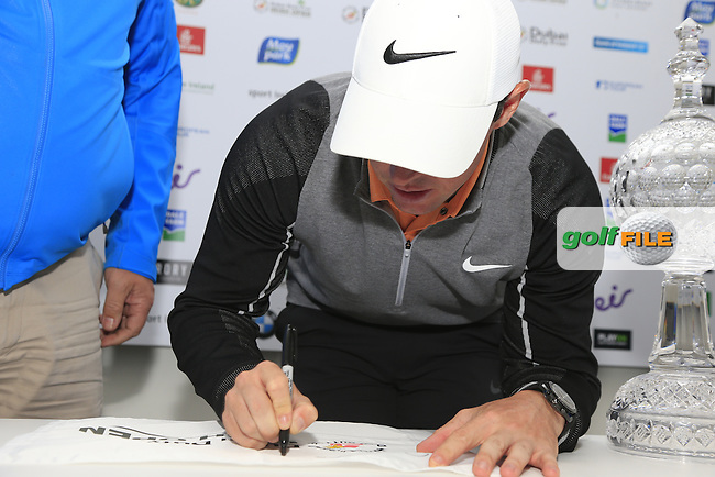 Rory McIlroy (NIR) wins the tournament by 3 shots on -12 after Sunday's Final Round of the 2016 Dubai Duty Free Irish Open hosted by Rory Foundation held at the K Club, Straffan, Co.Kildare, Ireland. 22nd May 2016.<br /> Picture: Eoin Clarke | Golffile<br /> <br /> <br /> All photos usage must carry mandatory copyright credit (&copy; Golffile | Eoin Clarke)