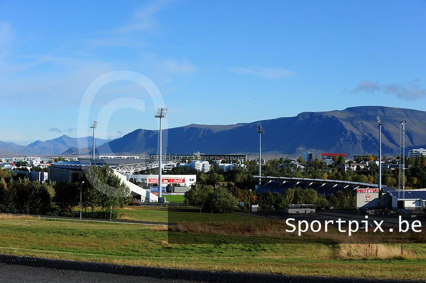 Iceland : UEFA Women's Euro Qualifying group stage (Group 3) - 21/09/2011 - 21:30CET (19:30 local time) - Laugardalsvöllur - Reykjavik : ICELAND (ijsland) - BELGIUM ( Belgie) : zicht op het nationale stadion vanop afstand..foto DAVID CATRY / Vrouwenteam.be
