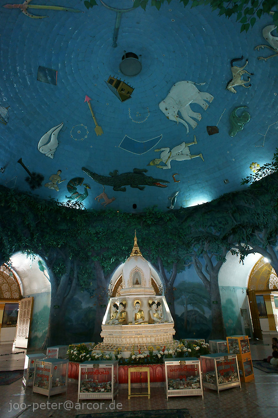 hall inside Maha Wizaya pagoda with wall painting of night sky with mythical creatures of astrology, Yangon, Myanmar, 2011
