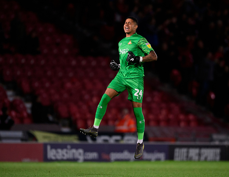 Doncaster Rovers' Seny Dieng celebrates after team-mate, Kazaiah Sterling, scored their sides second goal of the game<br /> <br /> Photographer Chris Vaughan/CameraSport<br /> <br /> EFL Leasing.com Trophy - Northern Section - Group H - Doncaster Rovers v Lincoln City - Tuesday 3rd September 2019 - Keepmoat Stadium - Doncaster<br />  <br /> World Copyright © 2018 CameraSport. All rights reserved. 43 Linden Ave. Countesthorpe. Leicester. England. LE8 5PG - Tel: +44 (0) 116 277 4147 - admin@camerasport.com - www.camerasport.com