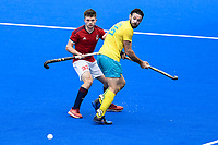 2nd February 2020; Sydney Olympic Park, Sydney, New South Wales, Australia; International FIH Field Hockey, Australia versus Great Britain; Trent Mitton of Australia and Zach Wallace of Great Britain watch for the ball