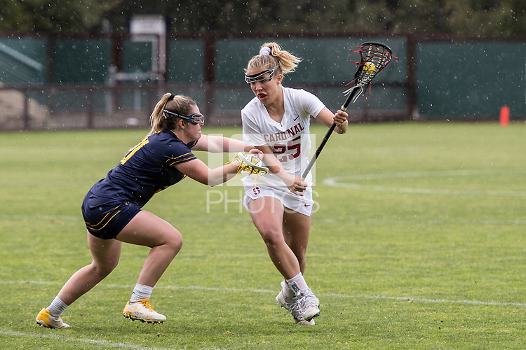 STANFORD, CA --March 17, 2018. <br /> The Stanford Cardinal women's lacrosse team defeats the California Golden Bears 21-5 at the Laird Q. Cagan Stadium.