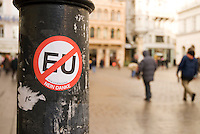 Anti-EU sticker on Vienna street post, Vienna, Austria