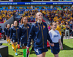 Utah Royals FC defender Becky Sauerbrunn (4) leads her team onto the field before the first half Saturday, April 14, 2018, during the National Woman Soccer League game at Rio Tiinto Stadium in Sandy, Utah. (© 2018 Douglas C. Pizac)