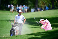 Brandt Snedeker (USA) hits his approach shot from the sand on 9 during round 2 of the Dean &amp; Deluca Invitational, at The Colonial, Ft. Worth, Texas, USA. 5/26/2017.<br /> Picture: Golffile | Ken Murray<br /> <br /> <br /> All photo usage must carry mandatory copyright credit (&copy; Golffile | Ken Murray)