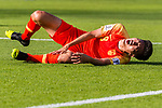 Liu Yang of China lies injured on the pitch during the AFC Asian Cup UAE 2019 Group C match between China (CHN) and Kyrgyz Republic (KGZ) at Khalifa Bin Zayed Stadium on 07 January 2019 in Al Ain, United Arab Emirates. Photo by Marcio Rodrigo Machado / Power Sport Images
