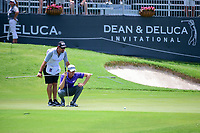 Webb Simpson (USA) lines up his putt on 18 during round 2 of the Dean &amp; Deluca Invitational, at The Colonial, Ft. Worth, Texas, USA. 5/26/2017.<br /> Picture: Golffile | Ken Murray<br /> <br /> <br /> All photo usage must carry mandatory copyright credit (&copy; Golffile | Ken Murray)