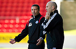 St Johnstone v Motherwell...11.09.10  .Derek McInnes appeals to fourth official Stephen Finnie.Picture by Graeme Hart..Copyright Perthshire Picture Agency.Tel: 01738 623350  Mobile: 07990 594431