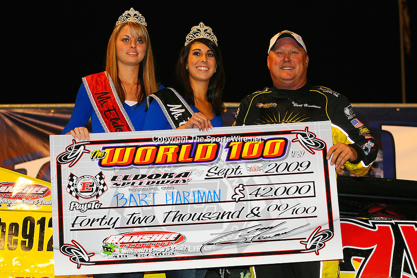 Sep 12, 2009; 11:09:41 PM; Rossburg, OH., USA; The 39th annual running of the World 100 Dirt Late Models racing for the Globe trophy at the Eldora Speedway.  Mandatory Credit: (thesportswire.net)