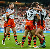 Castleford Tigers' Alex Foster scoring his side's second try with teammates<br /> <br /> Photographer Alex Dodd/CameraSport<br /> <br /> Betfred Super League Round 15 - Magic Weekend - Castleford Tigers v Leeds Rhinos - Saturday 19th May 2018 - St James' Park - Newcastle<br /> <br /> World Copyright &copy; 2018 CameraSport. All rights reserved. 43 Linden Ave. Countesthorpe. Leicester. England. LE8 5PG - Tel: +44 (0) 116 277 4147 - admin@camerasport.com - www.camerasport.com
