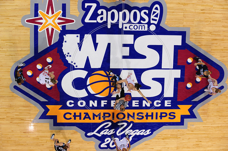 March 6, 2011; Las Vegas, NV, USA; San Diego Toreros guard Sam Child (center, left) and Saint Mary's Gaels forward Louella Tomlinson (center, right) jump for the tipoff during the WCC Basketball Championships semifinal game at Orleans Arena. The Gaels defeated the Toreros 71-68.