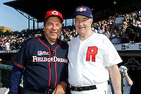 Hall of Fame catcher Johnny Bench poses for a photo with former Baltimore Orioles and Rochester Red Wings manager Joe Altobelli before the MLB Pepsi Max Field of Dreams game on May 18, 2013 at Frontier Field in Rochester, New York.  (Mike Janes/Four Seam Images)