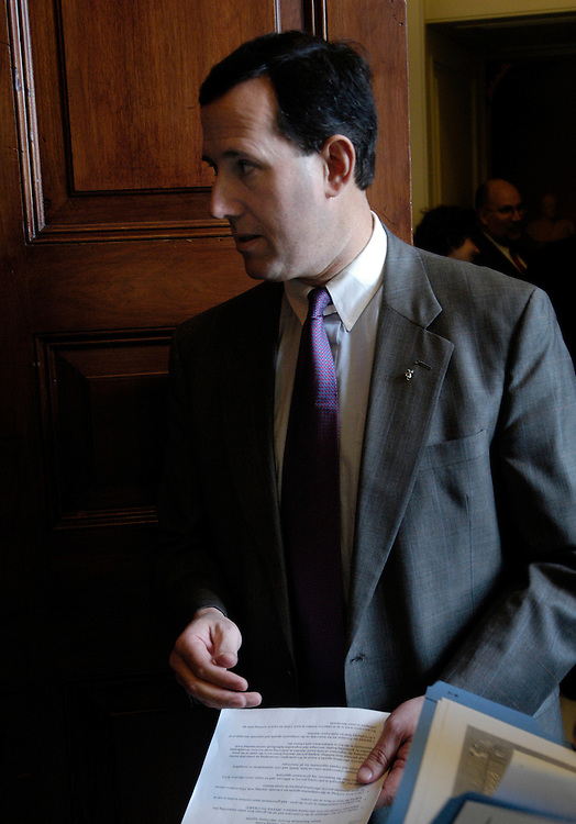 Sen. Rick Santorum, R-Pa., before a news conference to unveil the Senate Republican Anti-Poverty Agenda.