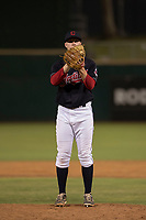 AZL Indians 1 relief pitcher Shane McCarthy (56) prepares to deliver a pitch during an Arizona League game against the AZL White Sox at Goodyear Ballpark on June 20, 2018 in Goodyear, Arizona. AZL Indians 1 defeated AZL White Sox 8-7. (Zachary Lucy/Four Seam Images)