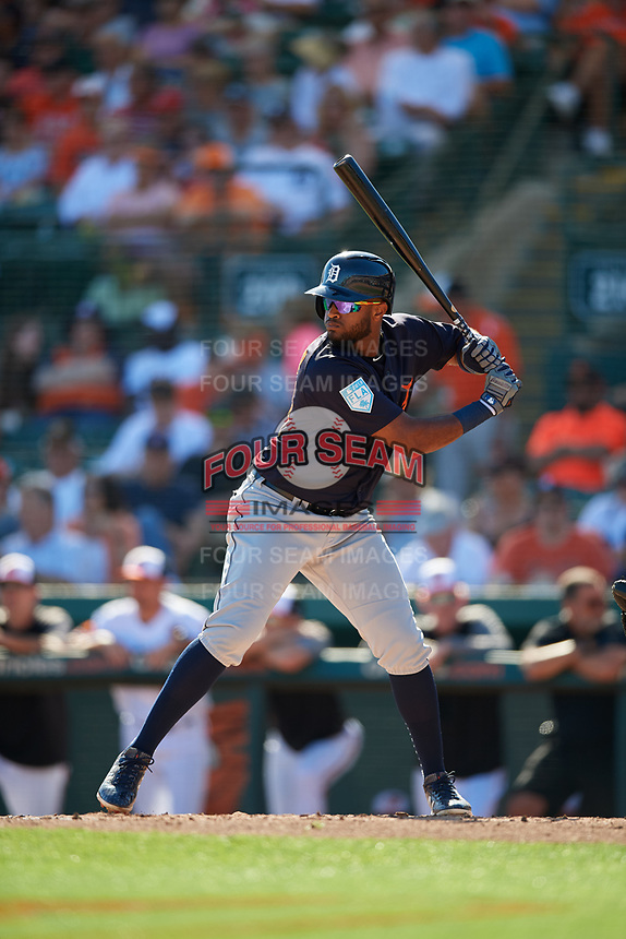 Detroit Tigers shortstop Willi Castro (49) at bat during a Grapefruit League Spring Training game against the Baltimore Orioles on March 3, 2019 at Ed Smith Stadium in Sarasota, Florida.  Baltimore defeated Detroit 7-5.  (Mike Janes/Four Seam Images)