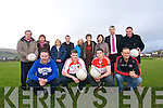The launch of the 'Celebration Of Football' tournament in aid of the West Kerry Mental Health at Pairc an Aghasaigh, Dingle. Front left: Tommy Griffin (Dingle), Colm Ó Galbhain (West Kerry), Paul Geaney (Dingle), Robbie Griffin (Dingle). Back left: Noel O Callaghan (Sraid Eoin manager), Maire Treasa Ní Ghrifín and Marie O'Brien (WK Mental Health), Breandan Fitzgerald (Sraid Eoin), Caroline Flynn, Úna Uí Shé and Annette Cremin (WK Mental Health), Murt Moriarty and Micheal Slattery.