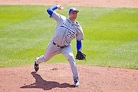 Devin Moore (29) of the Indiana State Sycamores delivers a pitch during a game against the Evansville Purple Aces in the 2012 Missouri Valley Conference Championship Tournament at Hammons Field on May 23, 2012 in Springfield, Missouri. (David Welker/Four Seam Images)