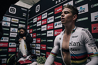 Wout Van Aert (BEL/Cr&eacute;lan-Charles) catching his breath post-finish in the press-tent (after finishing 2nd)<br /> <br /> Super Prestige Ruddervoorde / Belgium 2017