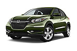 Stock pictures of low aggressive front three quarter view of a 2016 Honda HR-V EX 5 Door Suv Low Aggressive