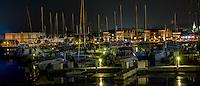 Harbor Club Marina at night in Sturgeon Bay Wisconsin.