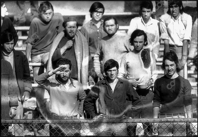 In the aftermath of the September 11th Chilean coup, thousands of political detainees are arrested and admitted for detention at the National Stadium. Santiago, Chile, September 1973