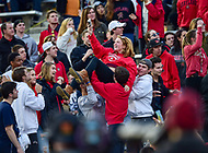 College Park, MD - NOV 11, 2017: Maryland Terrapins fan is raised in the air by the crowd during game between Maryland and Penn State at Capital One Field at Maryland Stadium in College Park, MD. (Photo by Phil Peters/Media Images International)