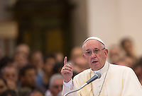 Papa Francesco parla durante la visita alla chiesa della Porziuncola, all'interno della Basilica di Santa Maria degli Angeli, in occasione dell'800esimo anniversario del Perdono di Assisi, 4 agosto 2016.<br /> Pope Francis gestures as he speaks during a visit to the Porziuncola chapel at Santa Maria degli Angeli church to mark the 800th anniversary of the Pardon of Assisi, 4 August 2016.<br /> UPDATE IMAGES PRESS/Riccardo De Luca<br /> <br /> STRICTLY ONLY FOR EDITORIAL USE